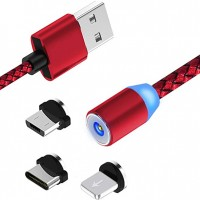 CABLE MAGNETICO DE CARGA TIPO C + MICRO USB + LIGHTNING ETOUCH
