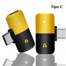 Adaptador TIPO C a poder tipo C + audio plug 3.5mm